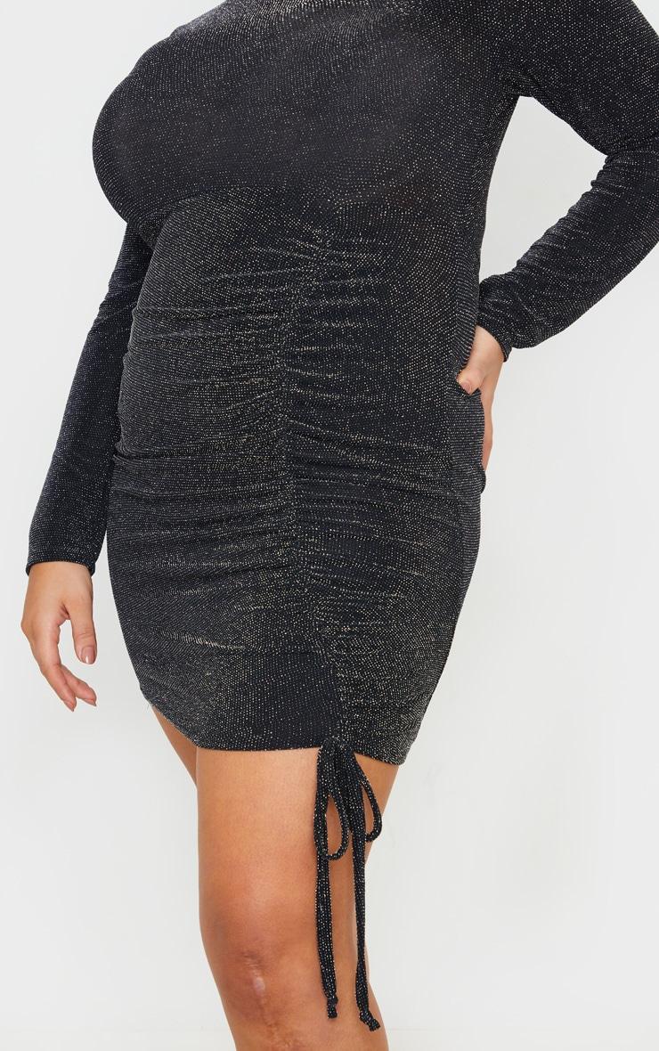 Plus Black Textured Glitter Ruching Detail High Neck Bodycon Dress 5
