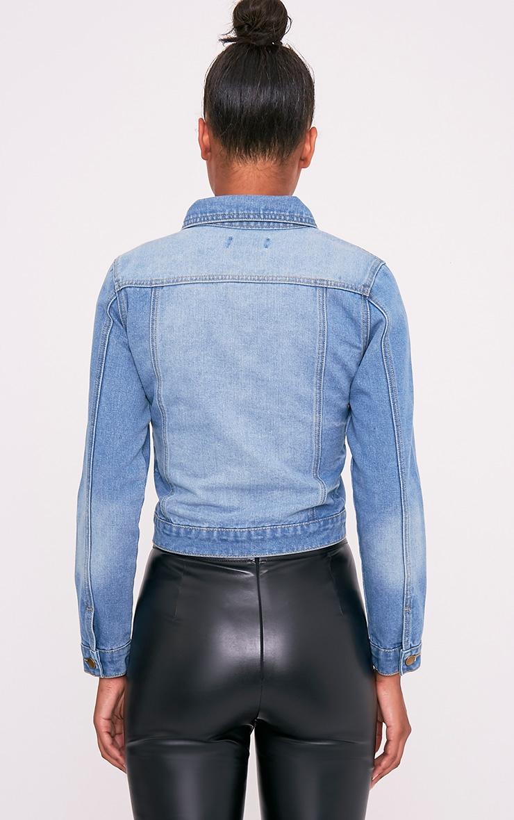 Kathleen Light Wash Crop Denim Jacket 2