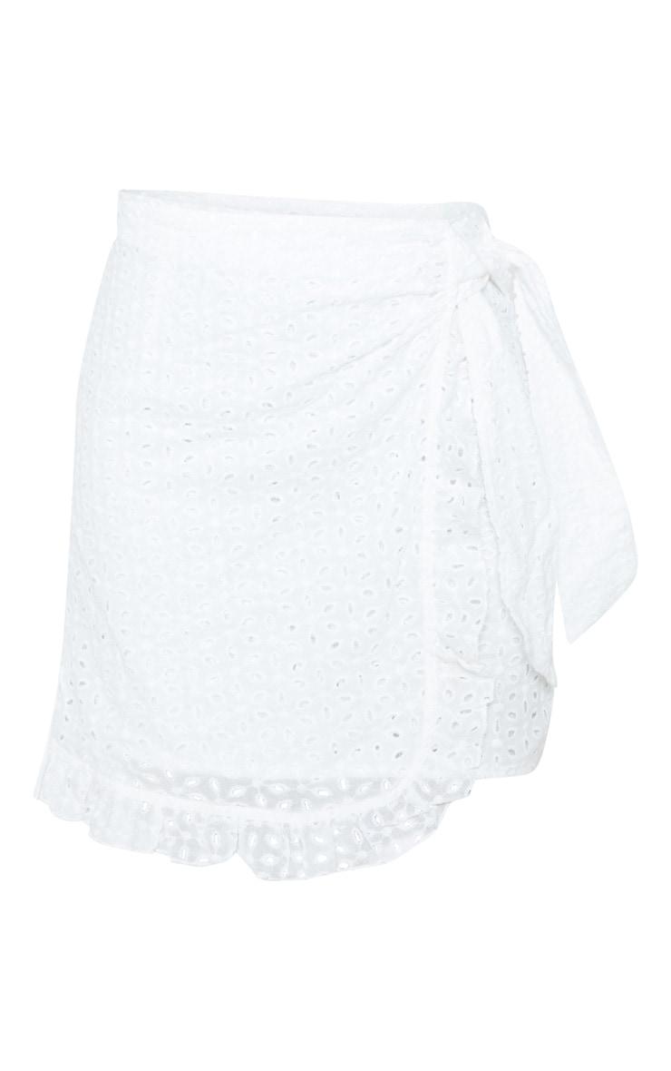 White Broderie Anglaise Tie Detail Frill Hem Skirt 3