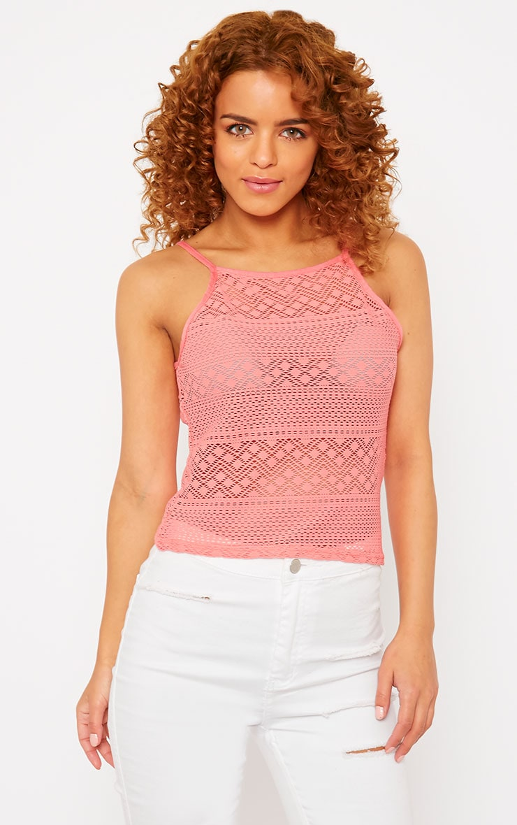 Erina Coral Lace Strappy Top 4