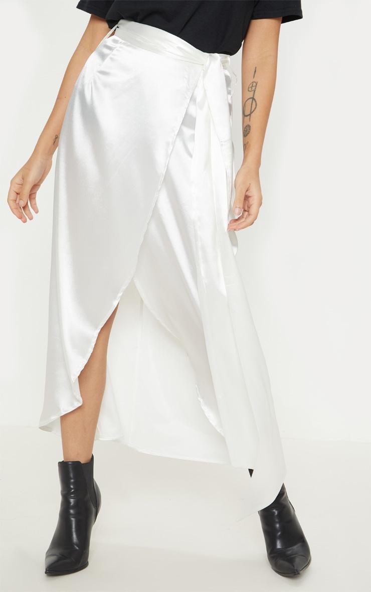 Petite White Satin Wrap Midi Skirt 2