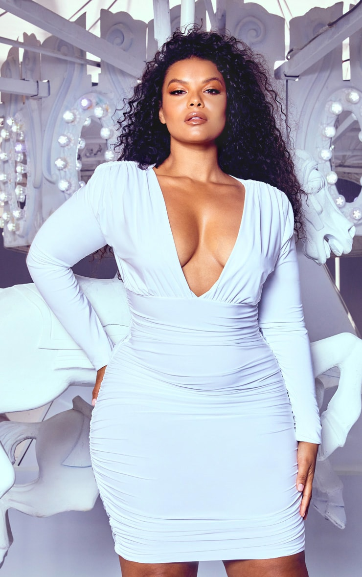Plus White Ruched Plunge Bodycon Dress