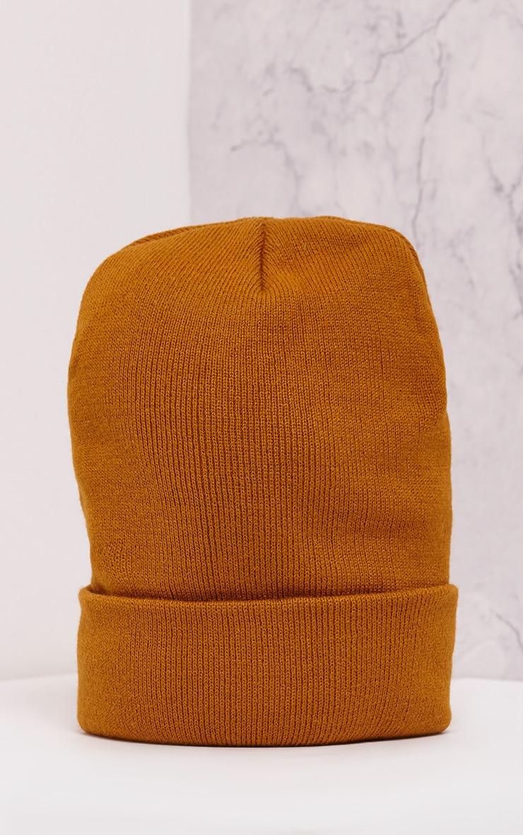 L.A. Slogan Mustard Beanie Hat 4