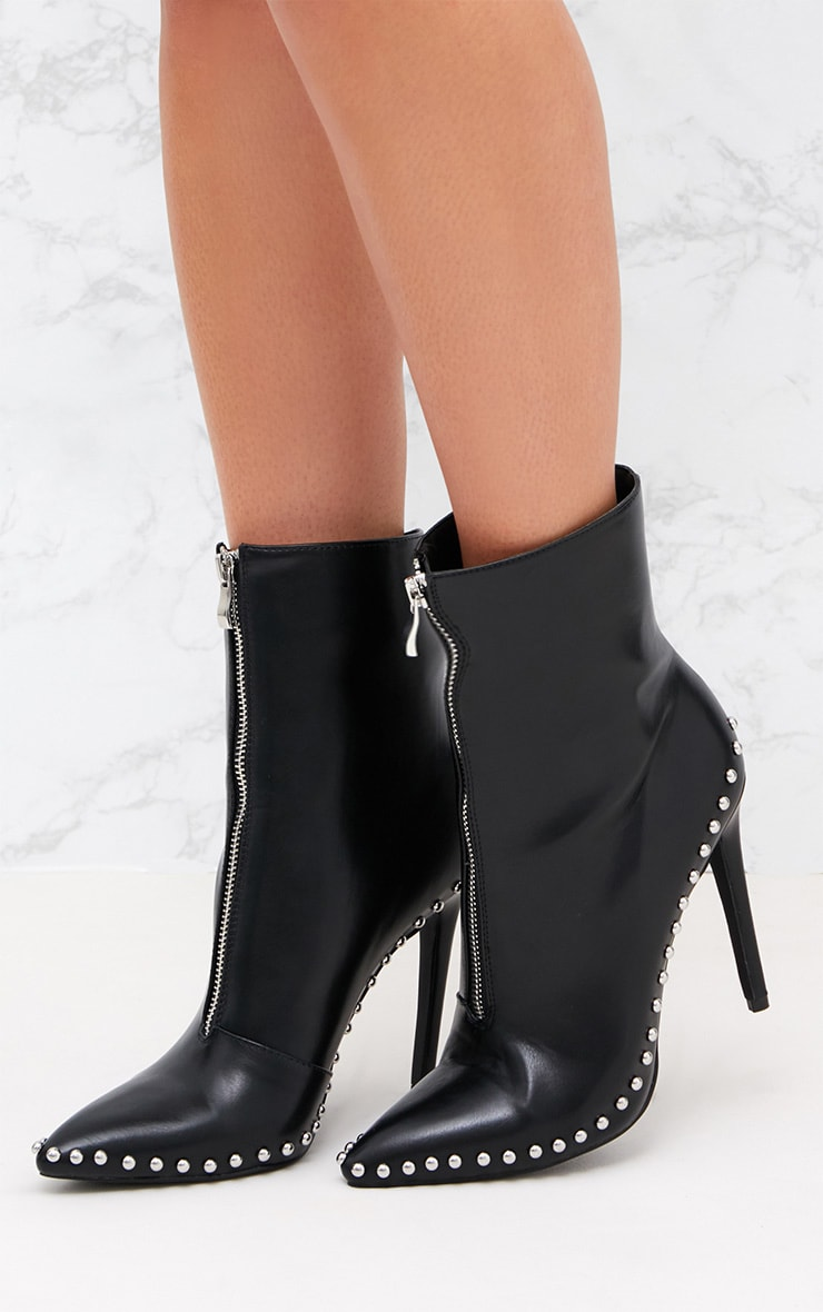 Black PU Studded Zip Pointy Ankle Boots 2