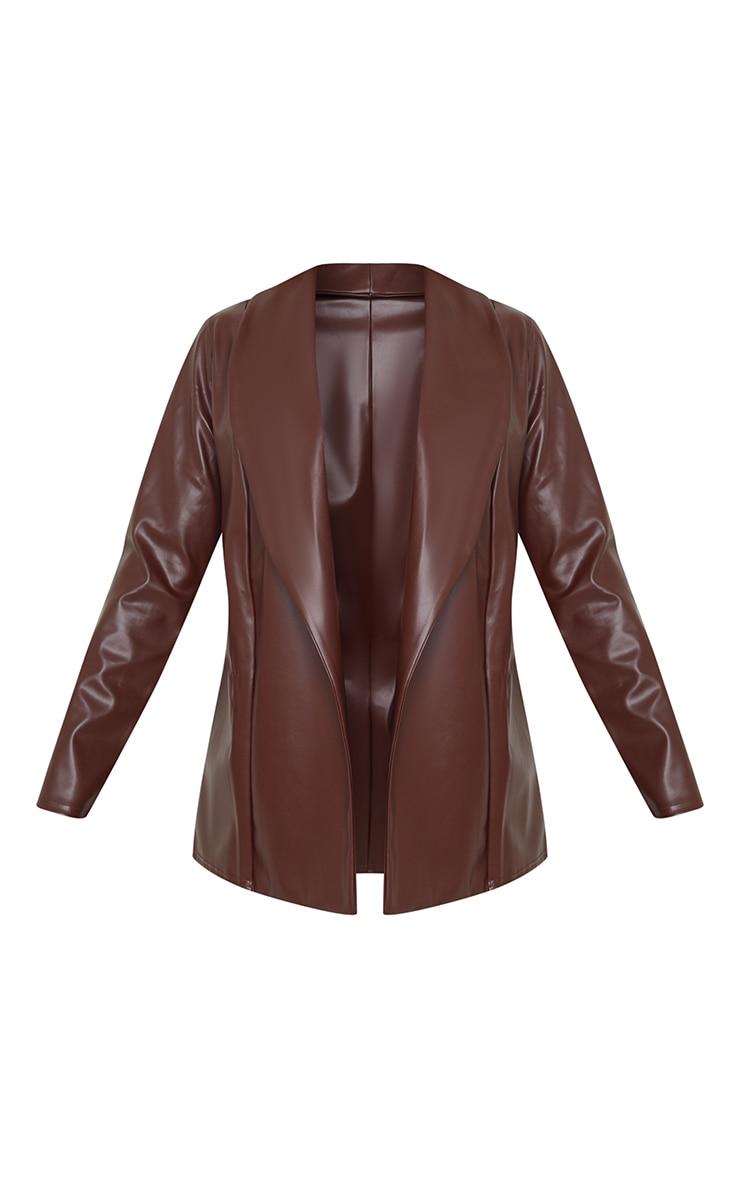 Chocolate Drop Collar Faux Leather Blazer 5