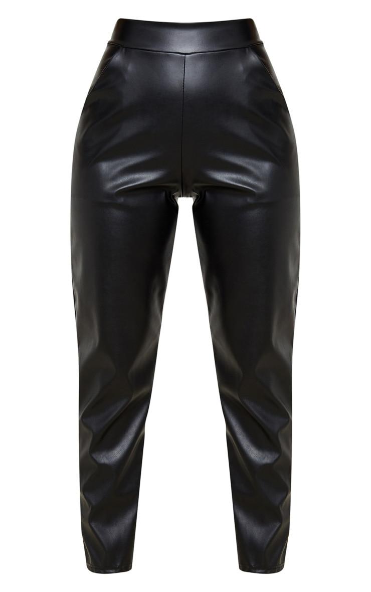 Petite Black High Waisted PU Trouser 3