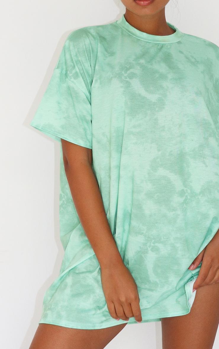 Petite Mint Oversized Tie Dye T Shirt Dress 4