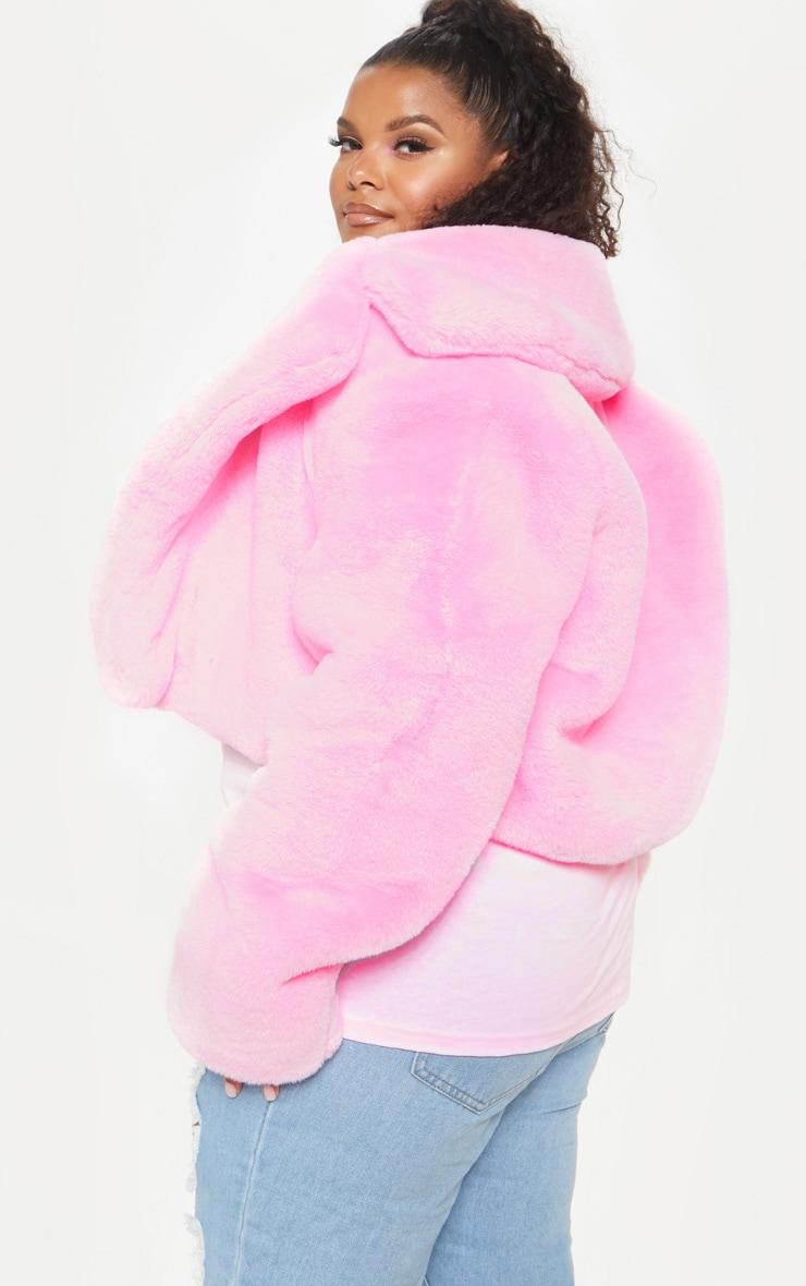 Plus Pink Faux Fur Cropped Jacket  2