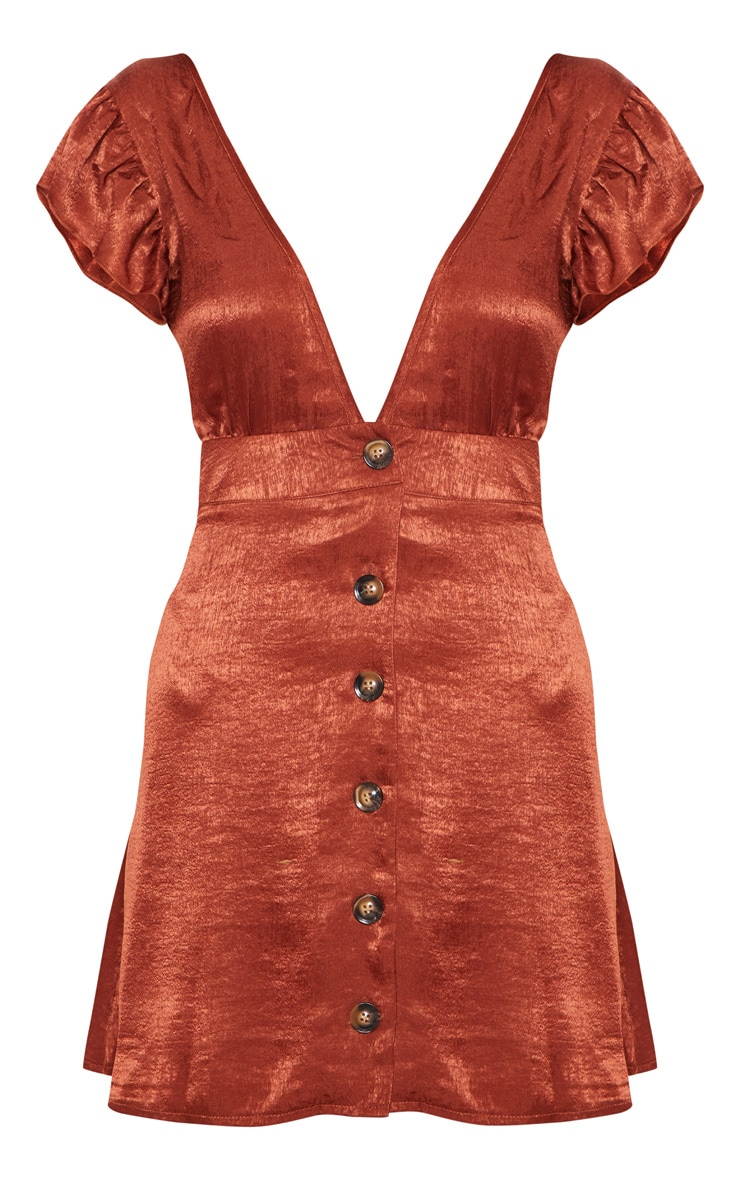 Chocolate Frill Tortoise Shell Button Skater Pinafore Dress 3