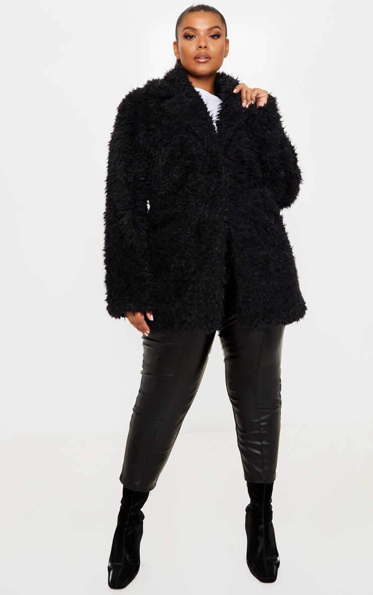 Plus Black Teddy Faux Fur Collar Coat 4