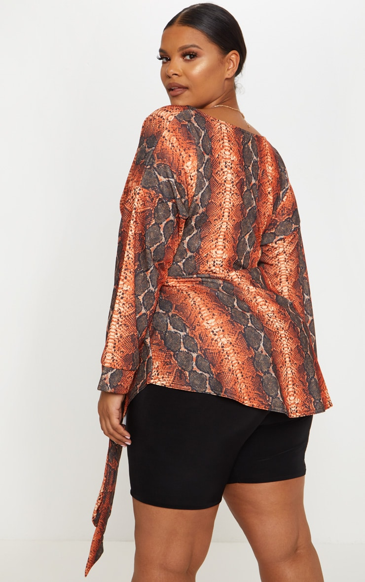 Plus Orange Snake Print Tie Waist Blouse 2