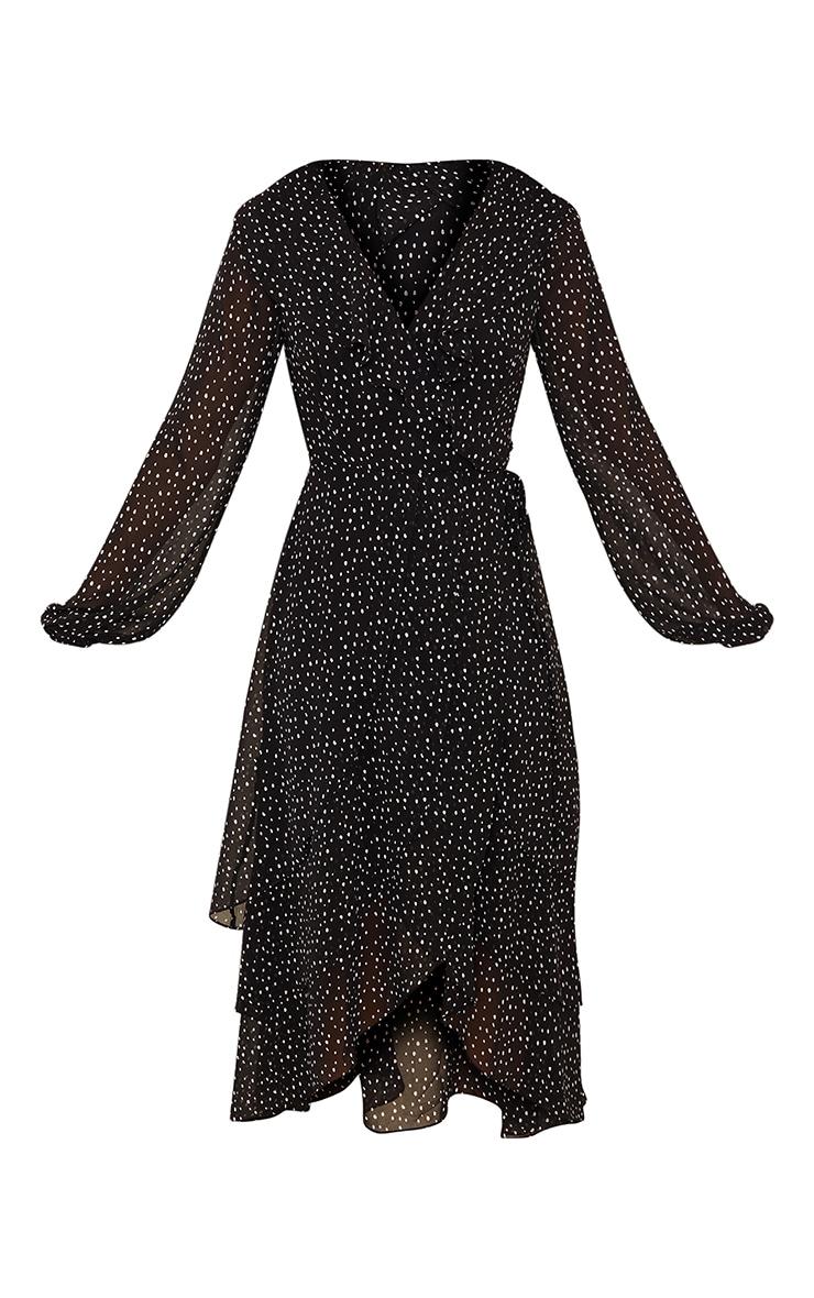 Black Polka Dot Chiffon Frill Wrap Midi Dress 5