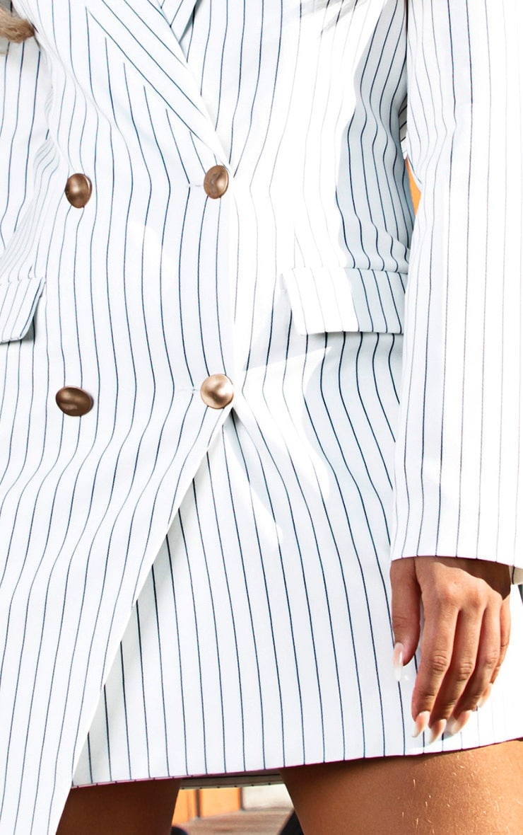 White Pinstripe Gold Button Blazer Dress 4