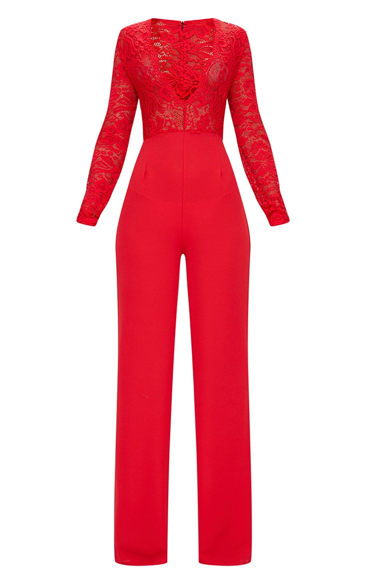 Red Lace Long Sleeve Plunge Jumpsuit 3