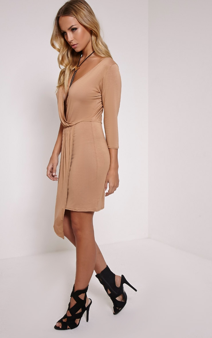 Keevy Camel Jersey Wrap Mini Dress 3