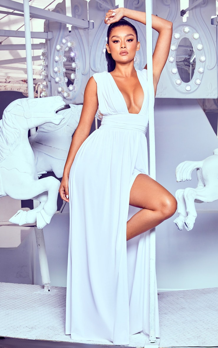 White Ruched Plunge Maxi Dress