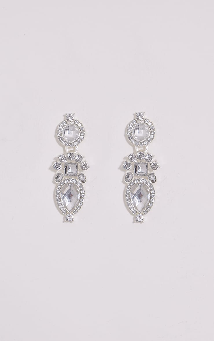 Silver Diamante Drop Earrings 1