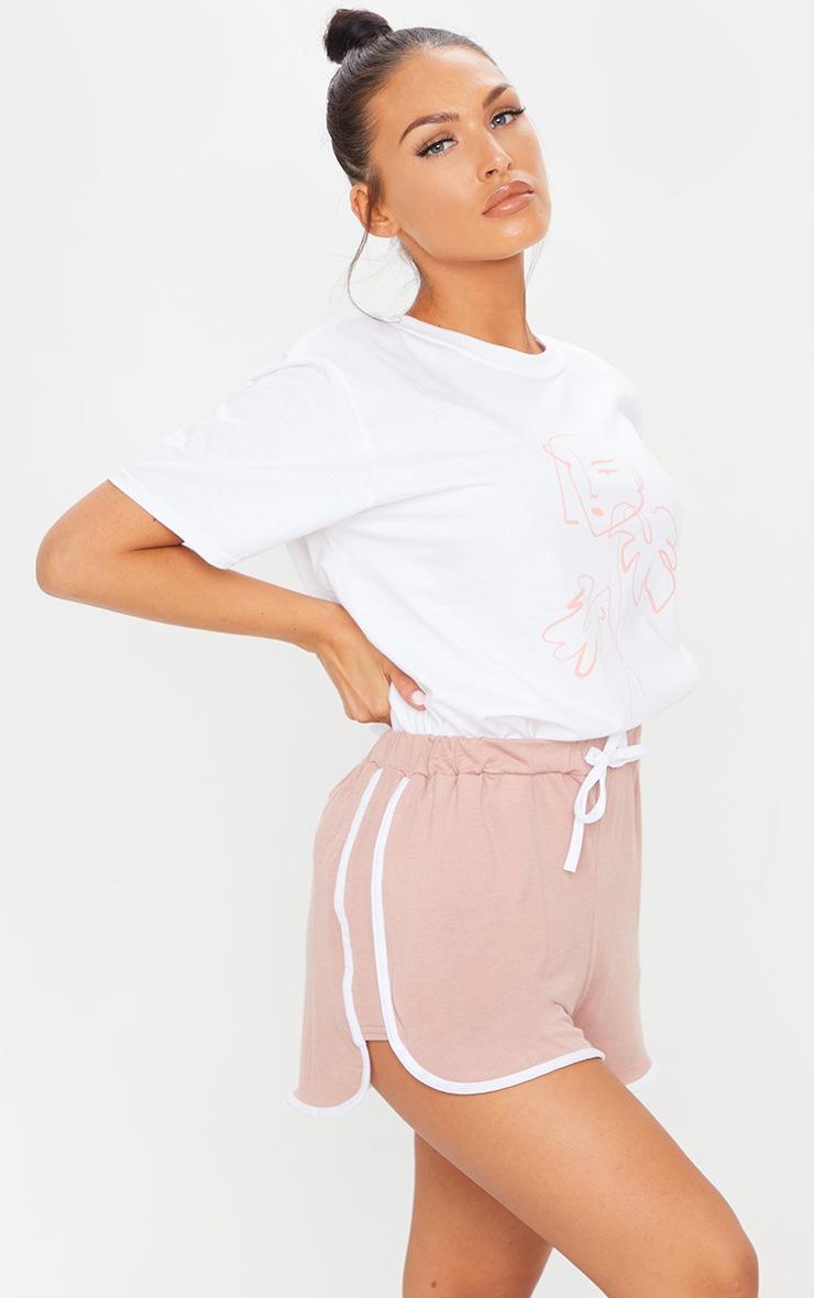 Dusty Pink Double Side Stripe Runner Shorts 4