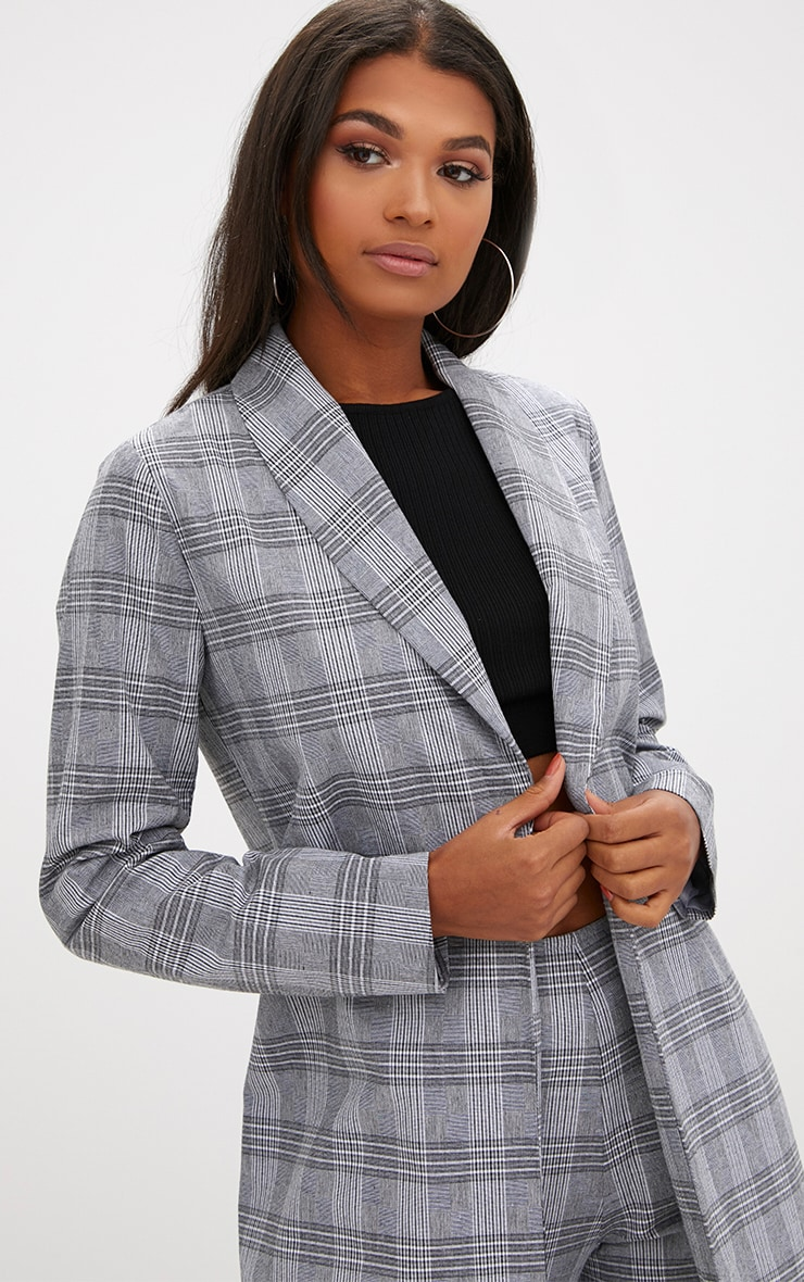 Grey Check Tailored Duster Coat 4