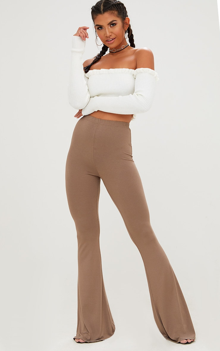 Mocha Jersey Flared Trousers 1