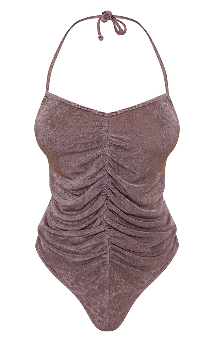 Mink Acetate Slinky Ruched Strappy Bodysuit 5