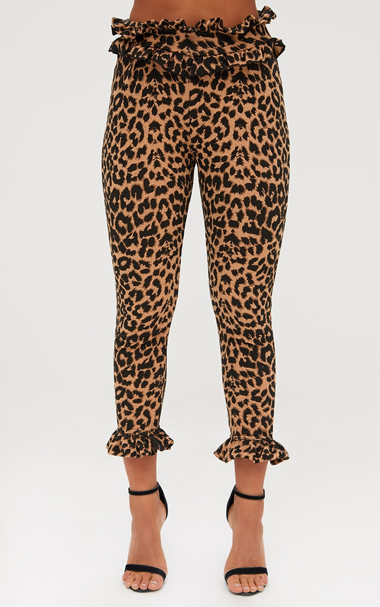 Brown Leopard Print Frill Trim Trousers 2