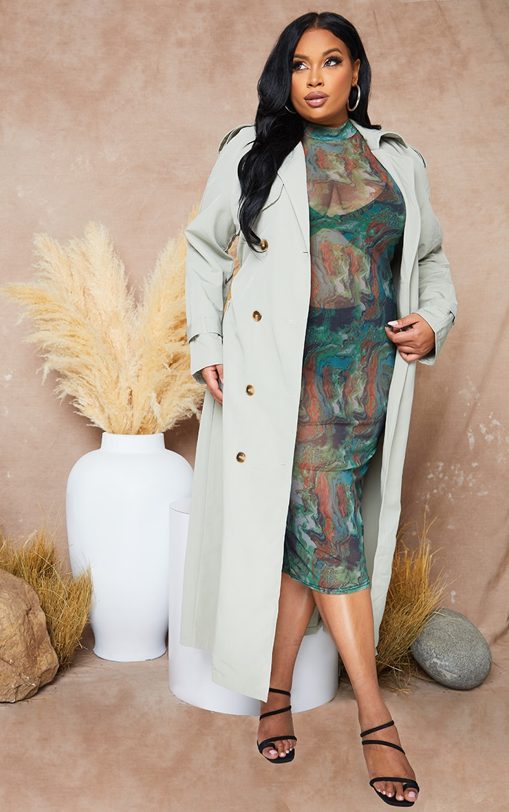 Plus Pale Khaki Oversized Trench Coat 1
