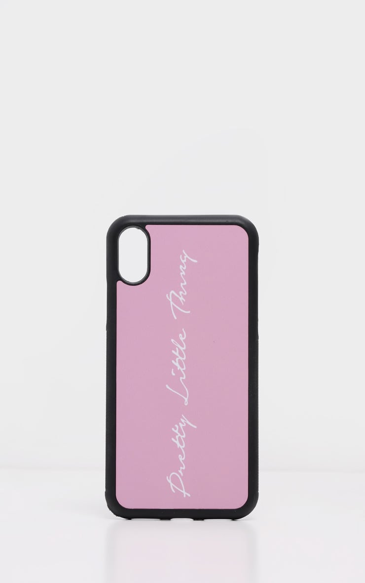 PRETTYLITTLETHING Baby Pink Scribble Logo 10/X/XS iPhone Case 2