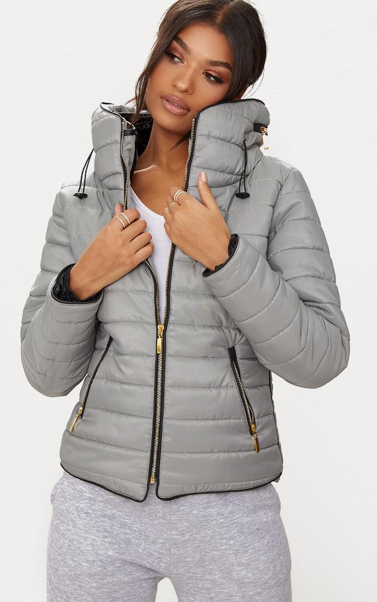 Mara Grey Puffer Jacket 2
