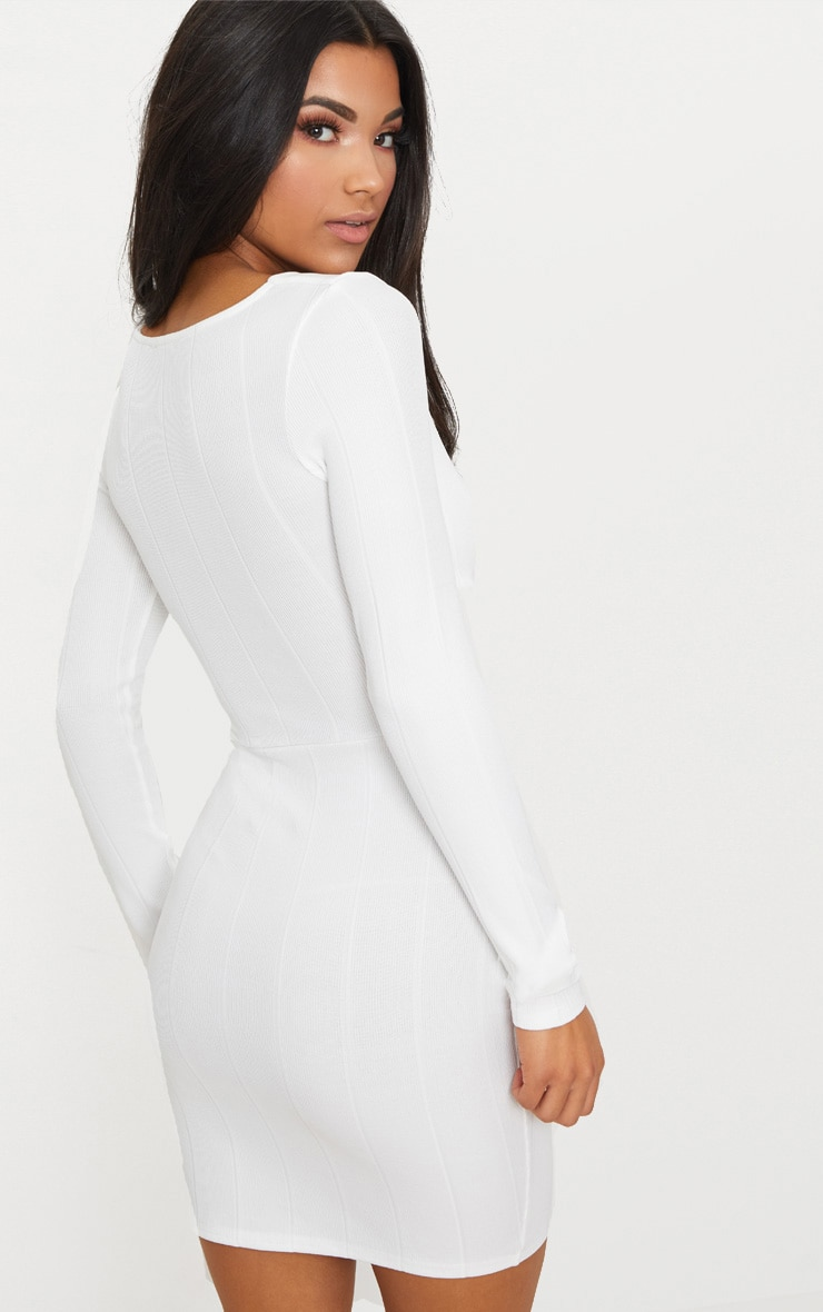 White Bandage Cross Front Cut Out Detail Bodycon Dress 2