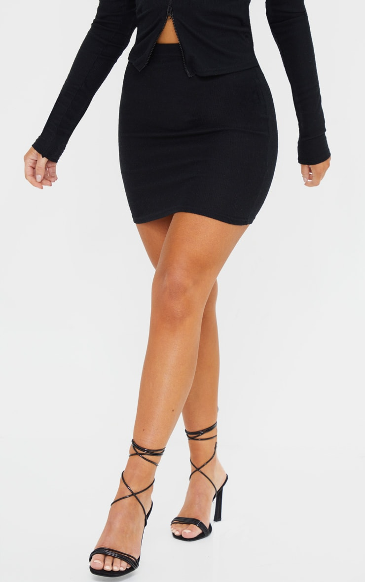 Black Soft Brushed Rib Mini Skirt 2