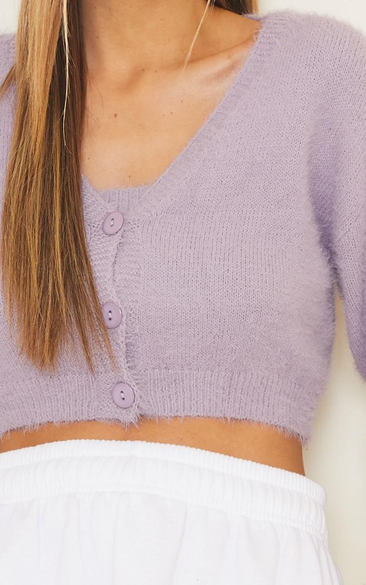 Lilac Eyelash Knit Cropped Cardigan 4