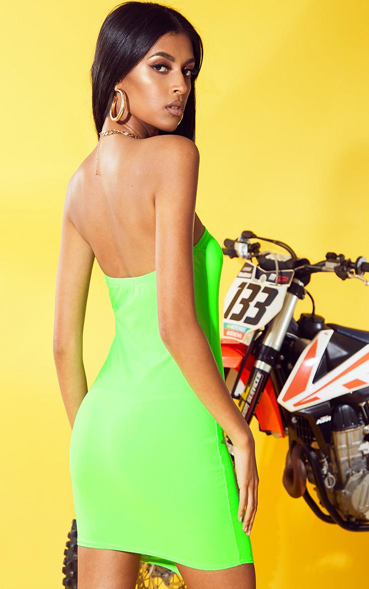 Neon Green Bandeau Pointy Hem Bodycon Dress 2