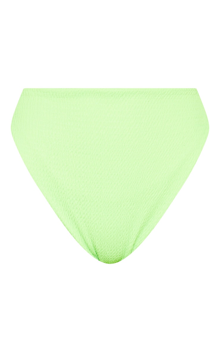 Bas de maillot taille haute vert citron fluo froncé 3