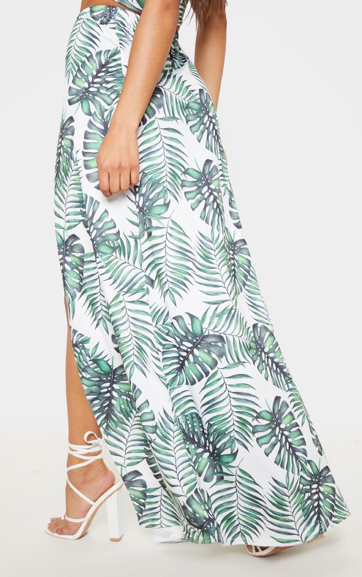 White Leaf Print Printed High Waisted Split Detail Maxi Skirt 4