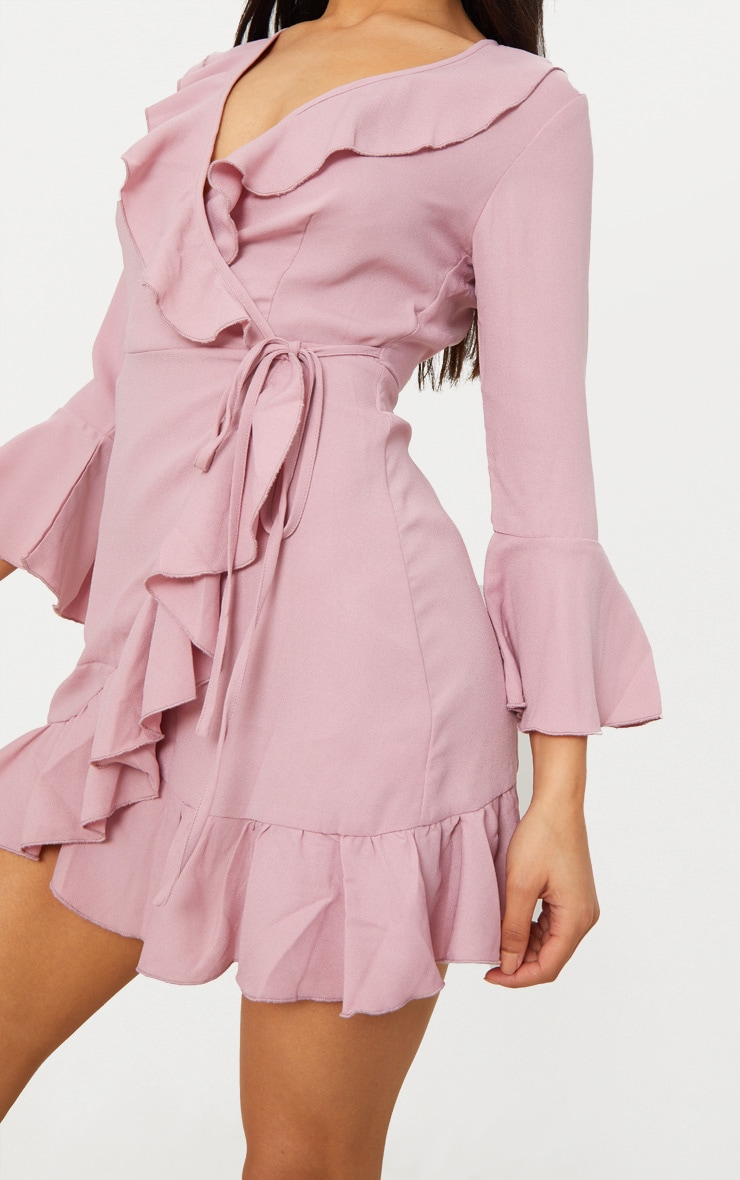 Ilisha Dusty Pink Frill Tea Dress 5