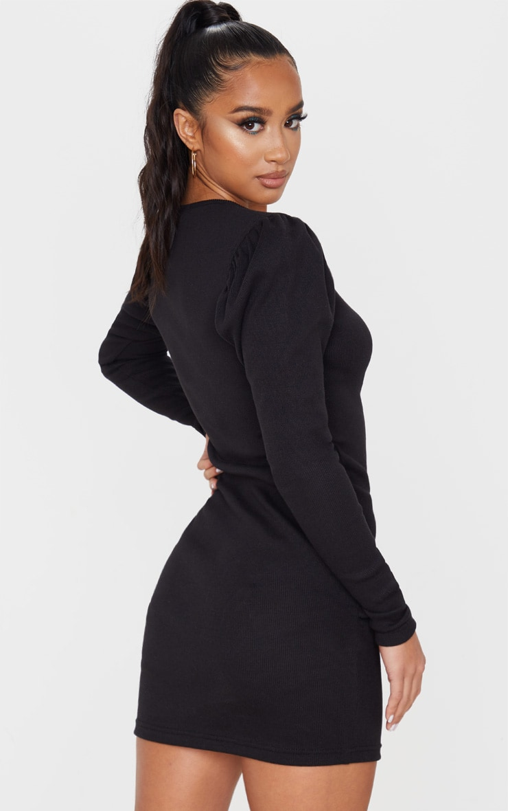 Petite Black Heavy Rib V Neck Puff Sleeve Mini Dress 2