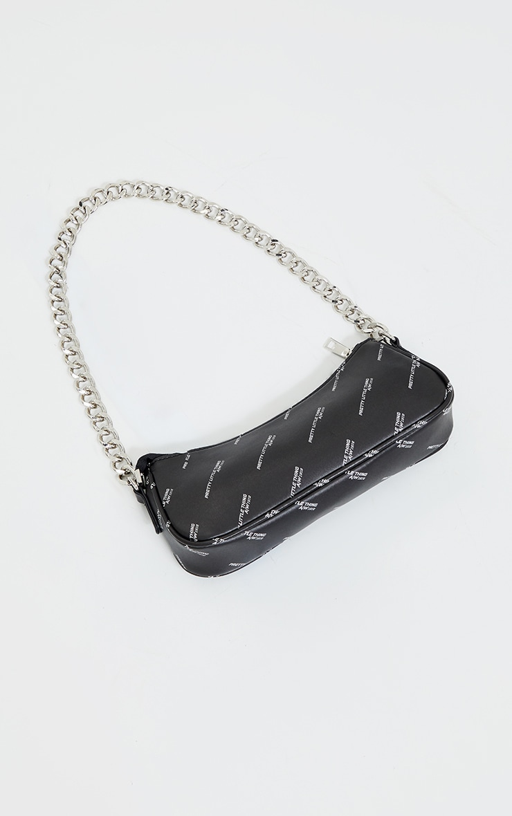 PRETTYLITTLETHING Black With Silver Chain Shoulder Bag 1