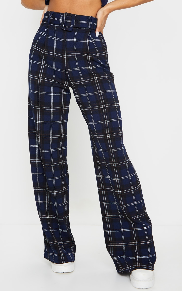 Blue Check Belted Wide Leg Pants 2