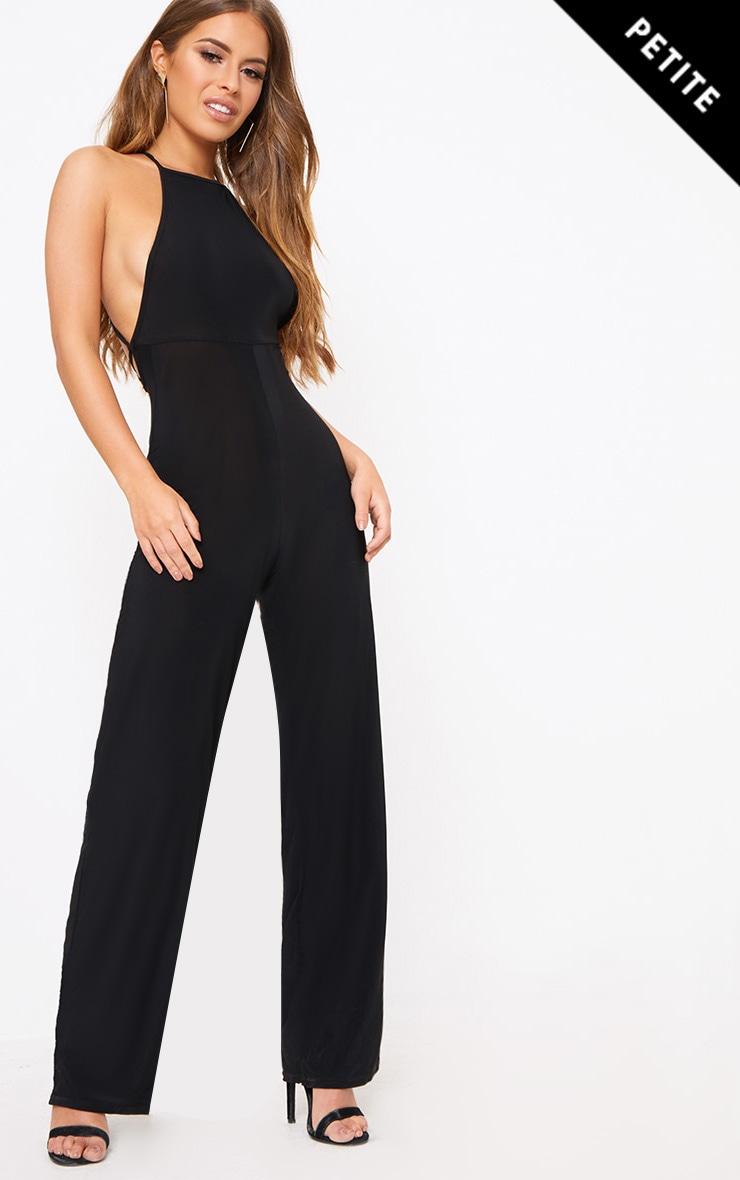 Petite Black Tie Back Strappy Jumpsuit 1