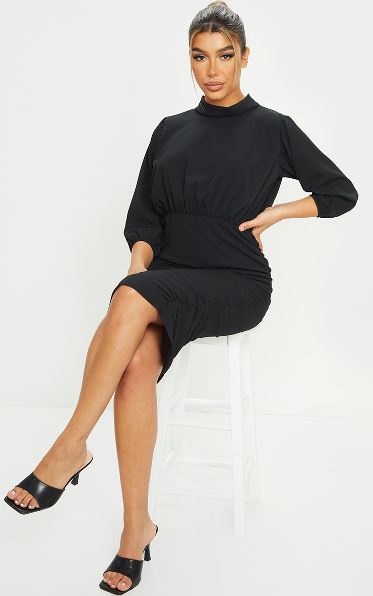 Black Chiffon High Neck Ruched Midi Dress 3