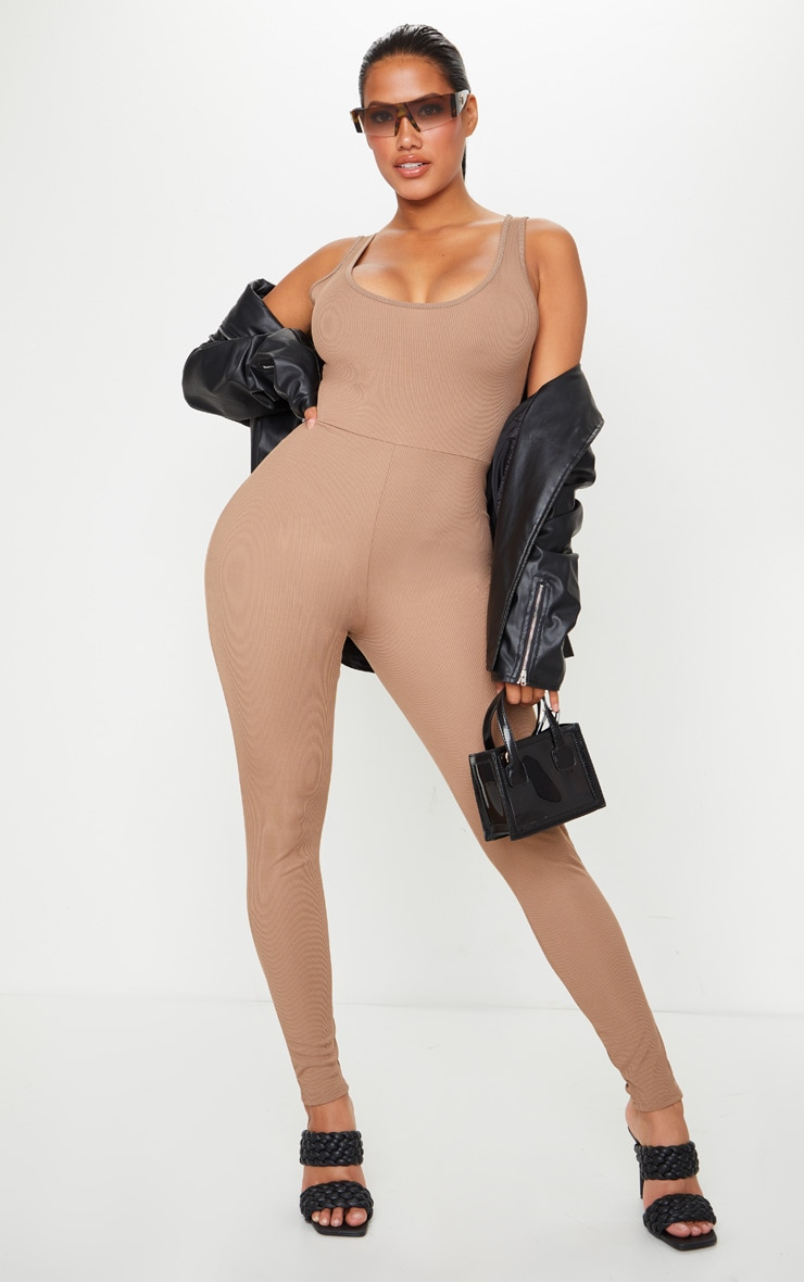 Shape Mocha Ribbed Scoop Neck Jumpsuit 1