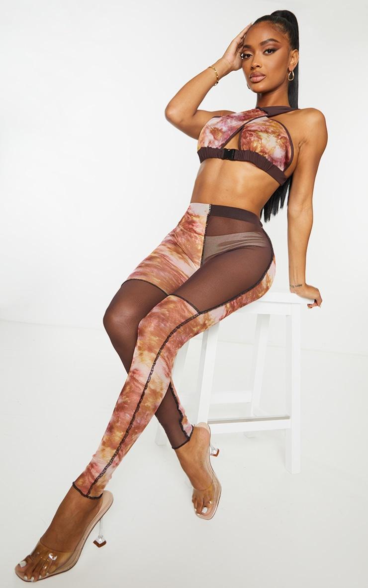 Shape Pink Tie Dye Sheer Mesh Contrast Stitch Leggings 3