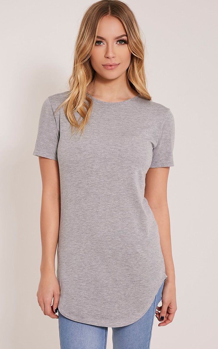 Basic t-shirt gris à ourlet arrondi 1
