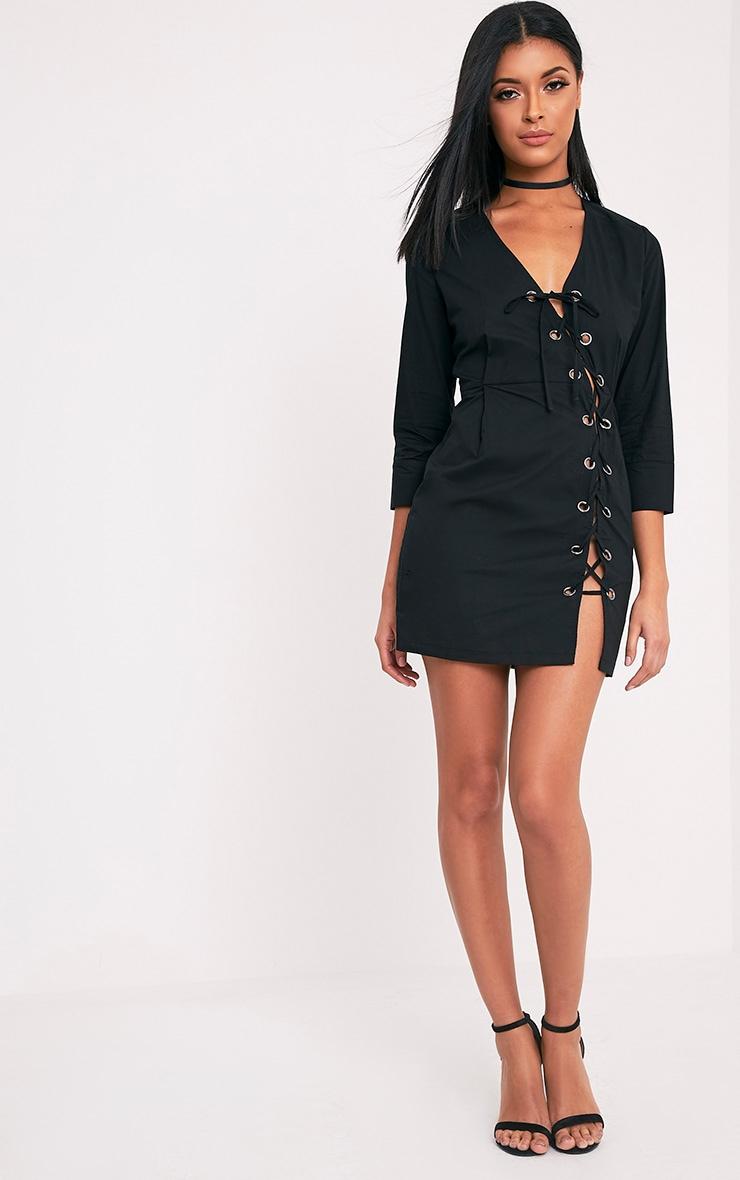 Penny robe moulante noire à œillets à lacets 5