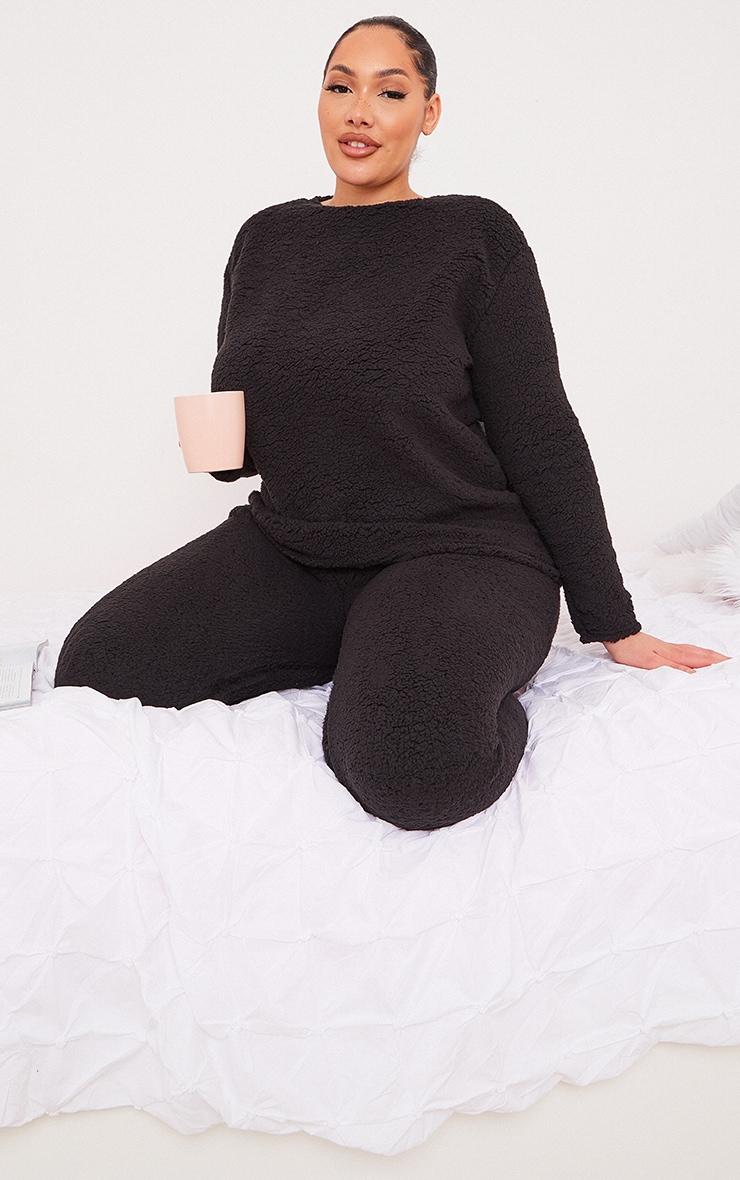 Plus Black Borg Long Sleeve Sweat and Legging PJ Set
