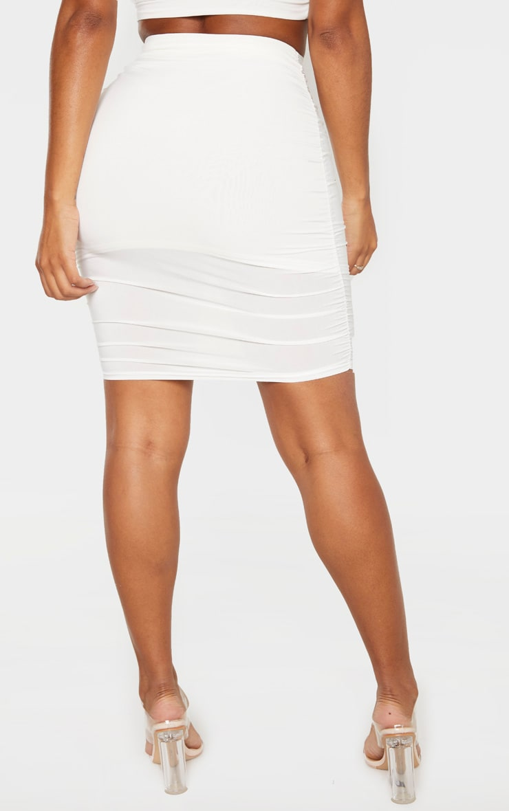 Shape Cream Ruched Bodycon Skirt 4