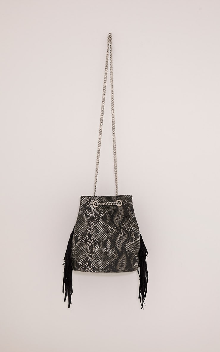 Zatara Grey Snake Print Bucket Bag 1