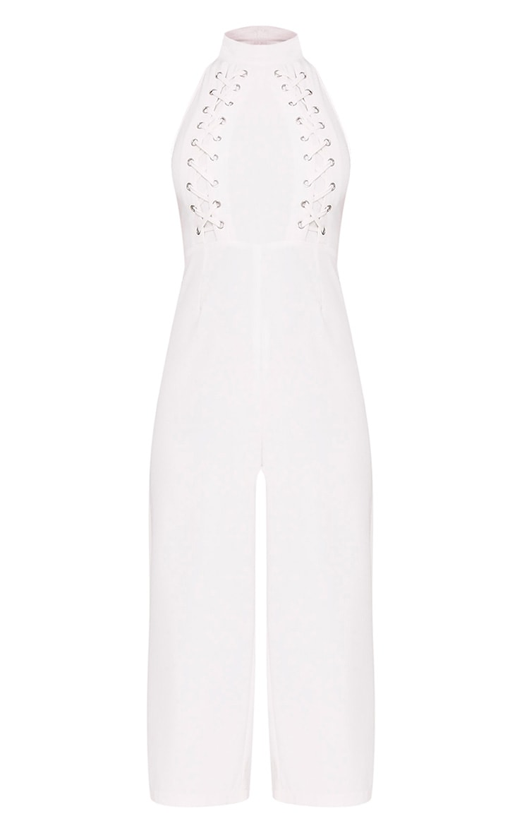 Stephanie White Lace up Cullote Jumpsuit 3