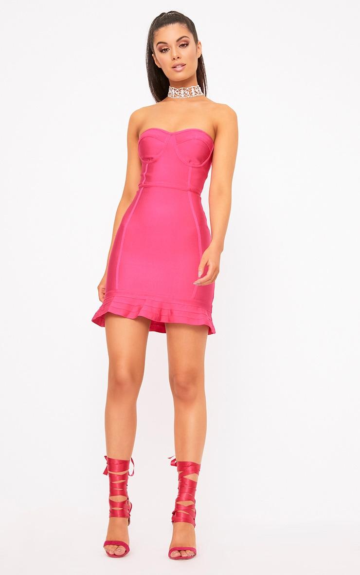 Presli Fuchsia Bandage Frill Hem Bodycon  Dress  3
